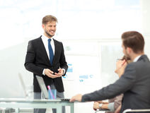 Successful business presentation of a man at the office Stock Images