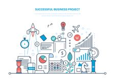 Successful business project. Start-up, project management, marketing, analysis, data control. Successful business project. Start-up, project management, control Royalty Free Stock Photos
