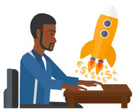 Successful business sturt up. An african-american man sitting at the table and looking at a rocket with money taking off the paper vector flat design Stock Photo