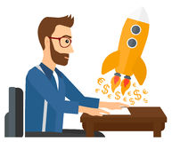 Successful business sturt up. A successful man sitting at the table and looking at a rocket with money taking off the paper vector flat design illustration Royalty Free Stock Images