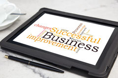 Successful business. Tablet with successful business word cloud stock photography