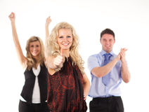 Successful Business team. Cheering with a thumb up Royalty Free Stock Photo