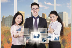 Successful business team with autumn background Royalty Free Stock Photo