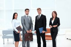 Portrait of successful business team in the background of the office Stock Photo