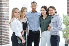 Successful business team in the background of the office. royalty free stock photos