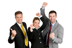Successful business team celebration. Successful happy business team celebrate their new success isolated on white background Stock Photos