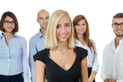 Successful business team cheering Stock Images