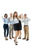 Successful business team cheering Stock Photo