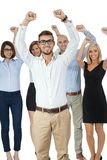 Successful business team cheering Stock Image