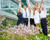 Successful business team cheering Royalty Free Stock Image