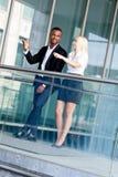 Successful business team diversity outdoor summer Stock Photos