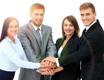 Successful business team with folded his hands together Royalty Free Stock Photography