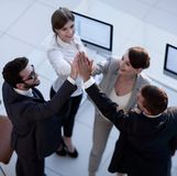 Successful business team giving each other a high-five, standing in the office. Concept of success royalty free stock photos