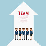 Successful business team with growth arrow. Teamwork concept. Flat design style. Stock Photography