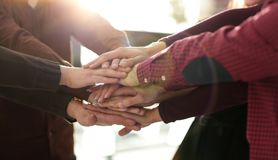 Successful business team with hands clasped together. Closeup.successful business team with hands clasped together.the concept of unity Royalty Free Stock Image