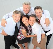 Successful business team laughing together stock photos