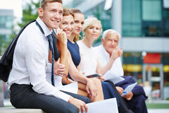 Successful business team with men and women stock photo