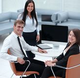 Portrait of successful business team near the desktop Royalty Free Stock Image