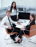 Portrait of successful business team near the desktop Royalty Free Stock Photos