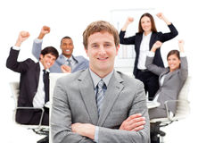Successful business team punching the air. In a meeting Royalty Free Stock Image