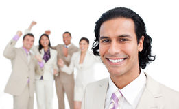 Successful business team punching the air Royalty Free Stock Photo