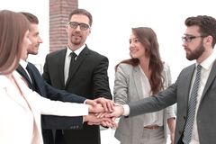 Successful business team putting their palms togethe. R.the concept of teamwork stock photo