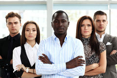 Successful business team smiling at office Stock Photo