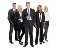 Successful business team standing. Portrait of a successful business team standing together on white background Royalty Free Stock Images