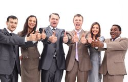 Successful business team with thumbs up Stock Photo