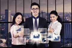 Successful business team with virtual business growth Stock Images