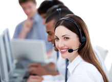 Successful business team working in a call center Stock Images