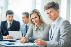 successful business team in a workplace stock image