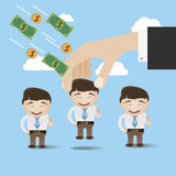 Successful business training concept vector illustration. Hand, people and money vector background Stock Images