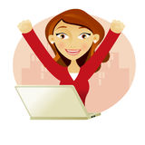 Successful business woman. Business woman on a laptop full of success with her arms up Royalty Free Stock Image