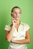 Successful business woman. Business portrait of a young thinking and successful woman Stock Photo