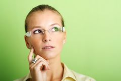 Successful business woman. Business portrait of a young thinking and successful woman Stock Images