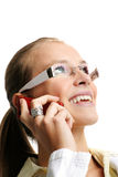 Successful business woman. Business portrait of a young and successful woman is calling with a mobilephone Stock Photo