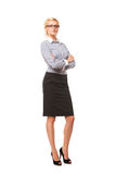 Successful business woman with arms crossed. Isolated over white Stock Photo