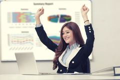 Successful business woman with arms up.  Royalty Free Stock Photography