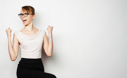 Successful business woman with arms up Royalty Free Stock Photos
