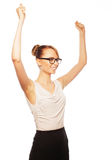 Successful business woman with arms up Stock Image