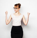 Successful business woman with arms up Royalty Free Stock Image