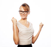 Successful business woman with arms up Stock Images