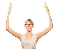 Successful business woman with arms up Royalty Free Stock Images
