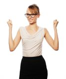 Successful business woman with arms up Stock Photo