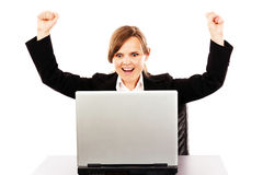 Successful business woman with arms up Stock Photography