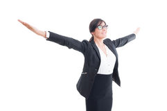 Successful business woman with arms wide open Stock Image
