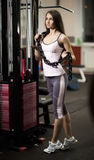 Successful business woman on the background of a modern gym Stock Image