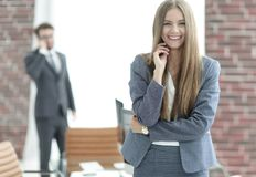 Successful business woman on blurred background office Stock Photography