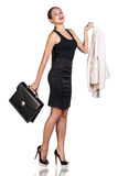 Successful business woman. With briefcase isolated on white Stock Photos